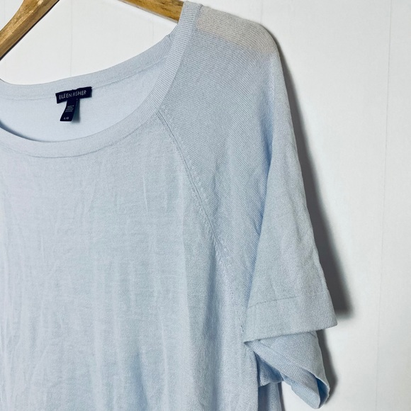 Eileen Fisher Top Morning Glory Blue Ballet Neck NWT Organic Cotton Small or L